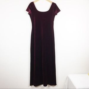 Vintage burgundy velvet maxi dress scoop neck